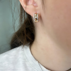 Modern Diamond Huggie Earrings