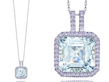Load image into Gallery viewer, Aquamarine and Diamond Halo Pendant