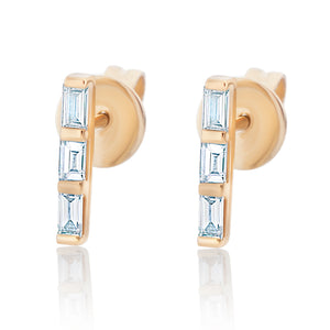 Diamond Baguette Bar Earrings