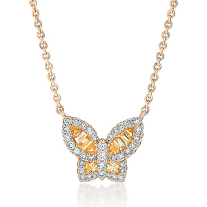 Petite Yellow Sapphire and Diamond Butterfly Pendant