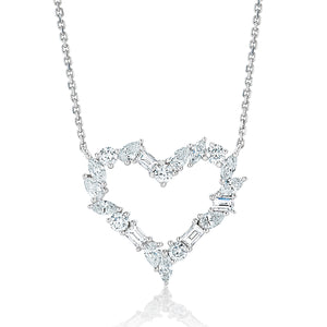 Large Mixed Cut Diamond Heart Pendant