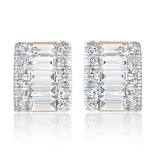 Load image into Gallery viewer, Petite Rectangular Round and Baguette Diamond Stud Earrings
