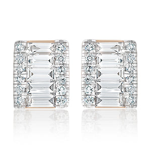 Petite Rectangular Round and Baguette Diamond Stud Earrings