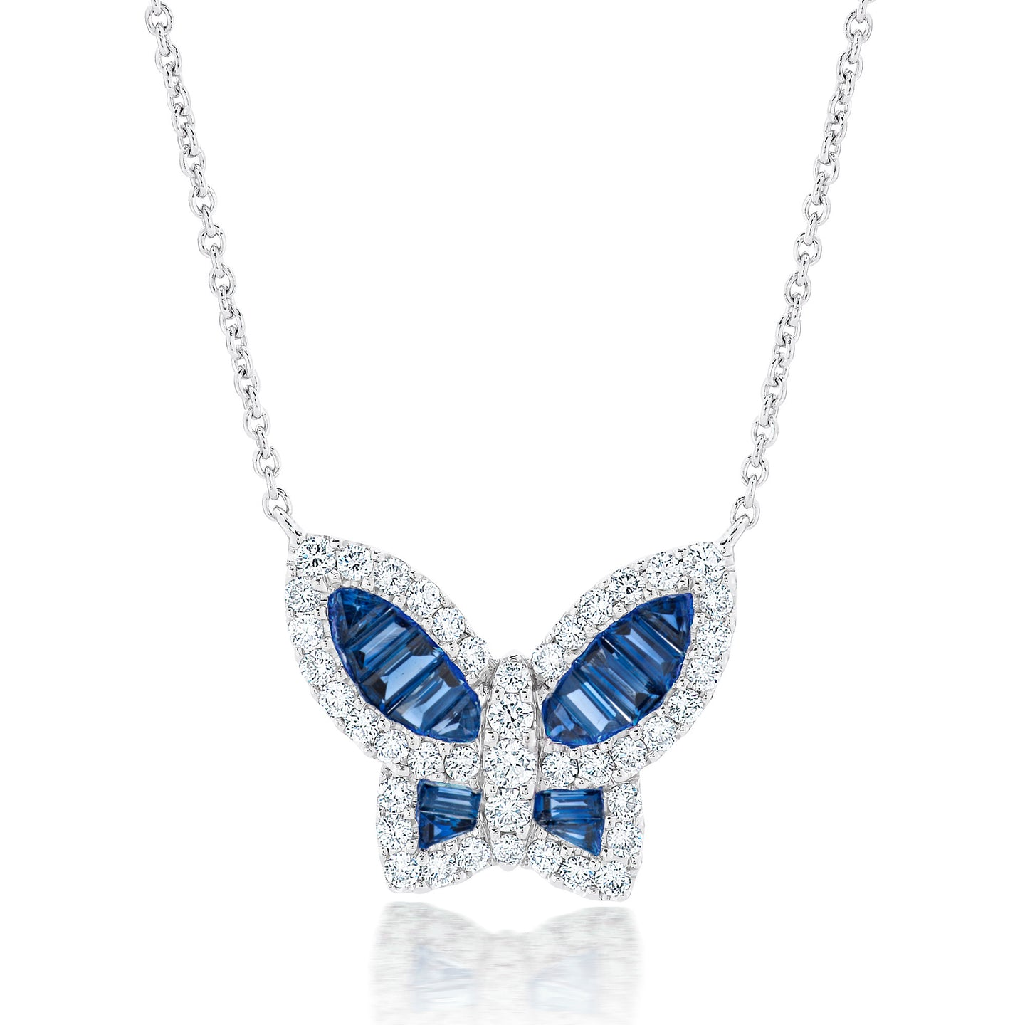 Large Blue Sapphire and Diamond Butterfly Pendant