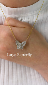 Large Two Tone Diamond Butterfly Pendant