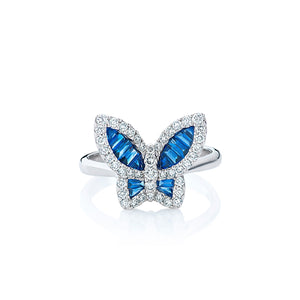 Large Sapphire and Diamond Butterfly Ring