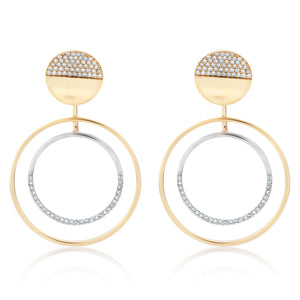 Two Tone Diamond Double Circle Dangle Earring