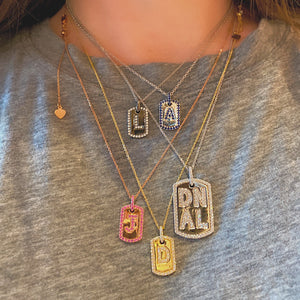 Small Initial Dog Tag Pendant