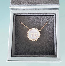 Load image into Gallery viewer, Medium Double Diamond Initial Sun Pendant