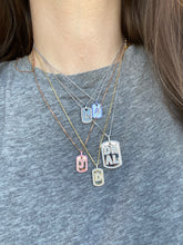 Load image into Gallery viewer, Large Diamond Dog Tag Initial Necklace