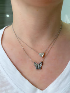 Large Black Rhodium Diamond Butterfly Pendant