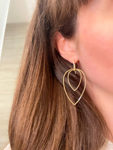 Load image into Gallery viewer, Double Leaf Shaped Diamond Dangle Earrings