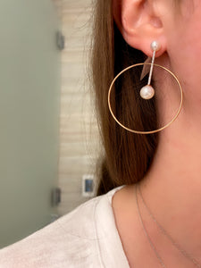 Diamond and Pearl Orbit Hoop Earrings