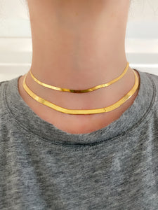 Yellow Gold 3mm Wide herringbone Chain Necklace