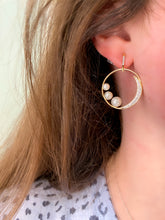 Load image into Gallery viewer, Diamond and Pearl Crescent Moon Earrings