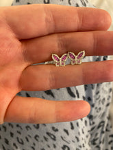 Load image into Gallery viewer, Pink Sapphire and Diamond Petite Butterfly Earrings