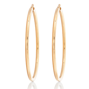 "Large Thick 3"" Gold Hoops"