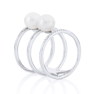 Three Row Pearl and Diamond Cage Ring