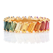 Load image into Gallery viewer, Multi Colored Sapphire Baguette Band