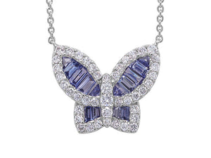 Large Ice Blue Sapphire Butterfly Pendant