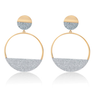 Diamond Disc Dangle Earrings