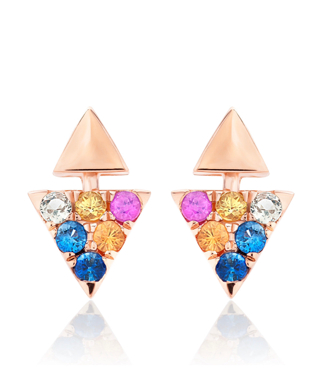 Multi-Color Sapphire Triangle Stud Earrings