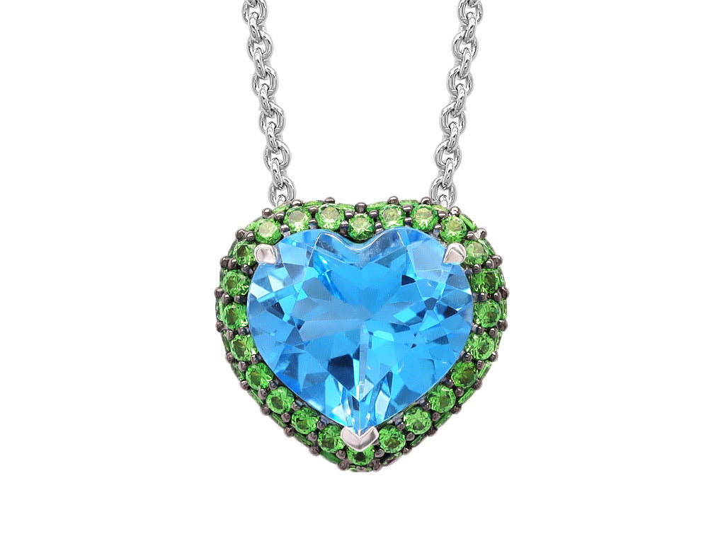 Tsavorite and Swiss Blue Topaz Pendant