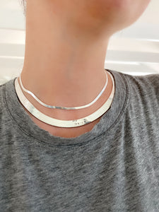 Silver 8.75mm Wide Herringbone Necklace
