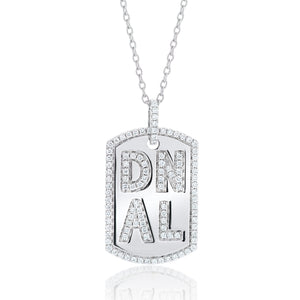 Large Diamond Dog Tag Initial Necklace