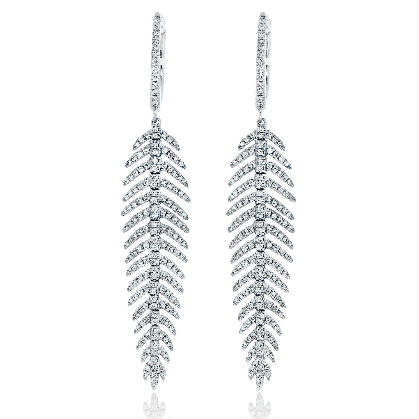 Small Feather Diamond Earrings