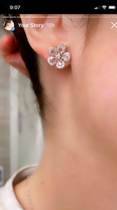 Diamond Rose Cut Flower Earrings