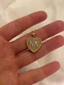 Medium All Gold Diamond Double Initial Heart Pendant