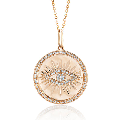 Evil Eye Diamond Coin Necklace
