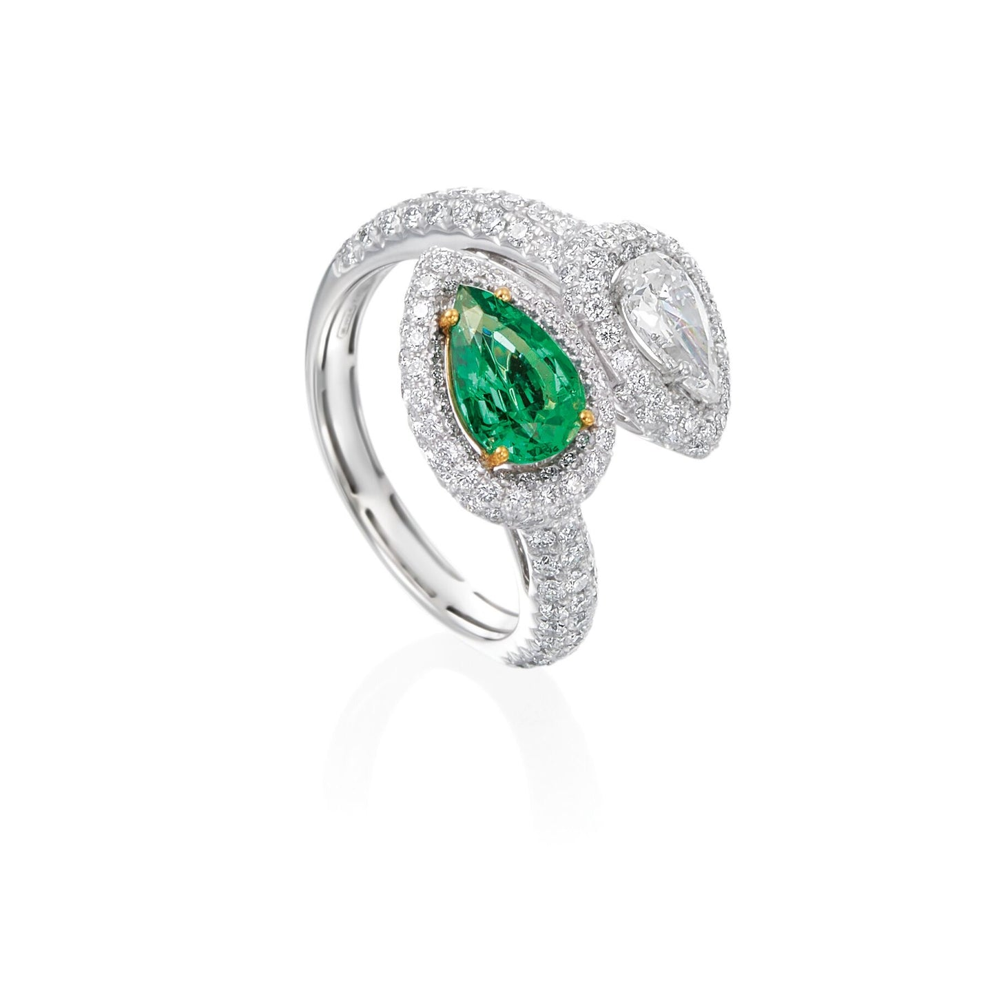 Emerald and Diamond Snake Wrap Ring