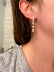 Multi Pearl Diamond Hoop Earrings