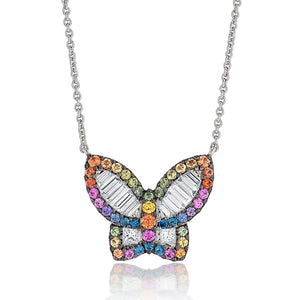 Large Diamond and Sapphire Rainbow Butterfly Pendant