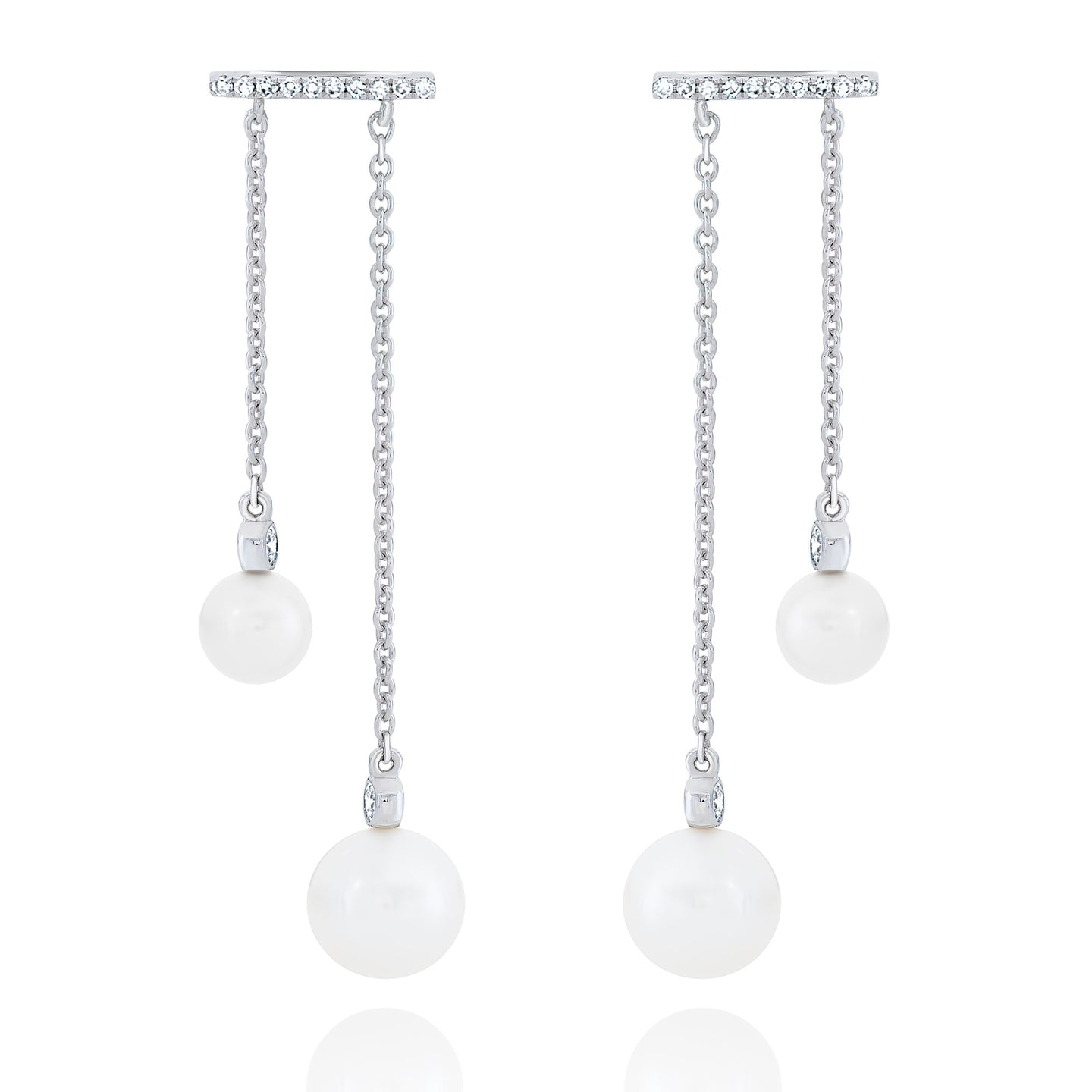 Diamond and Pearl Double Drop Hanging Earrings