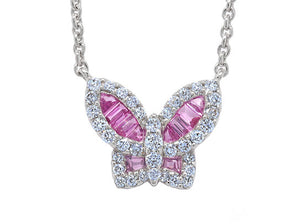 Petite Pink Sapphire and Diamond Butterfly Pendant