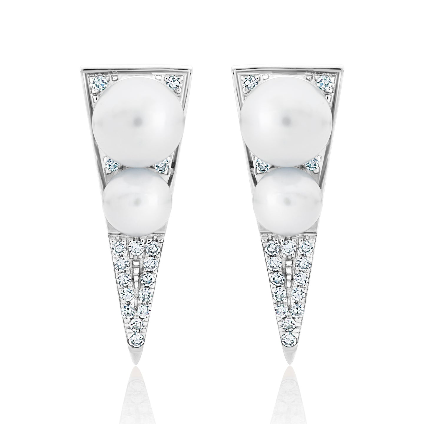 Diamond and Pearl Dagger Earrings