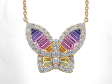 Load image into Gallery viewer, Large Rainbow Ombré Sapphire and Diamond Butterfly Pendant