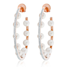 Load image into Gallery viewer, Multi Pearl Diamond Hoop Earrings