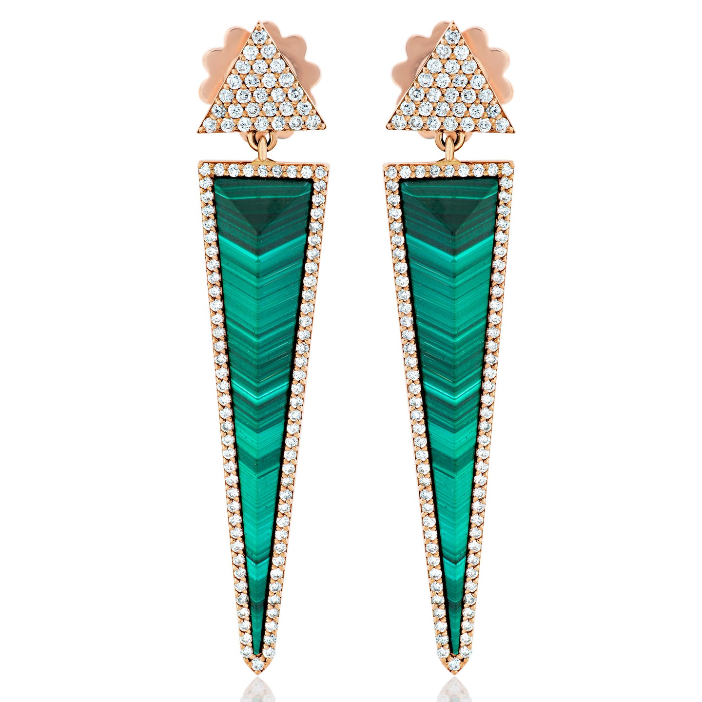 Malachite and Diamond Dagger Earrings