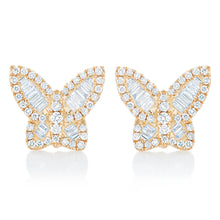 Load image into Gallery viewer, Petite Diamond Butterfly Earrings