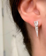 Load image into Gallery viewer, Baguette and Round Diamond Dagger Earrings