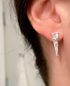 Baguette and Round Diamond Dagger Earrings