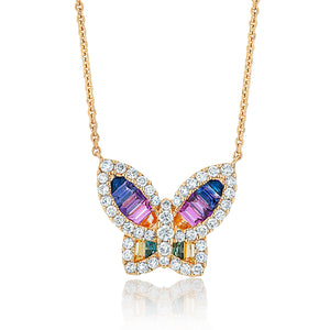 Large Rainbow Ombré Sapphire and Diamond Butterfly Pendant