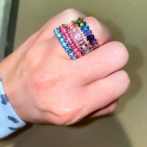 Multi Colored Sapphire Baguette Band