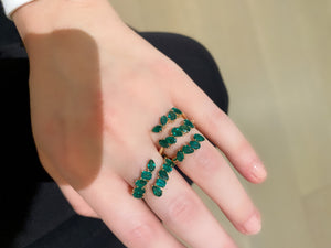 Green Emerald Mixed Cut Coil Ring