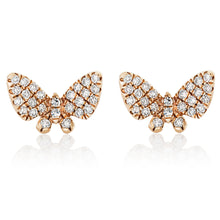 Load image into Gallery viewer, Micro Mini Diamond Butterfly Stud Earrings