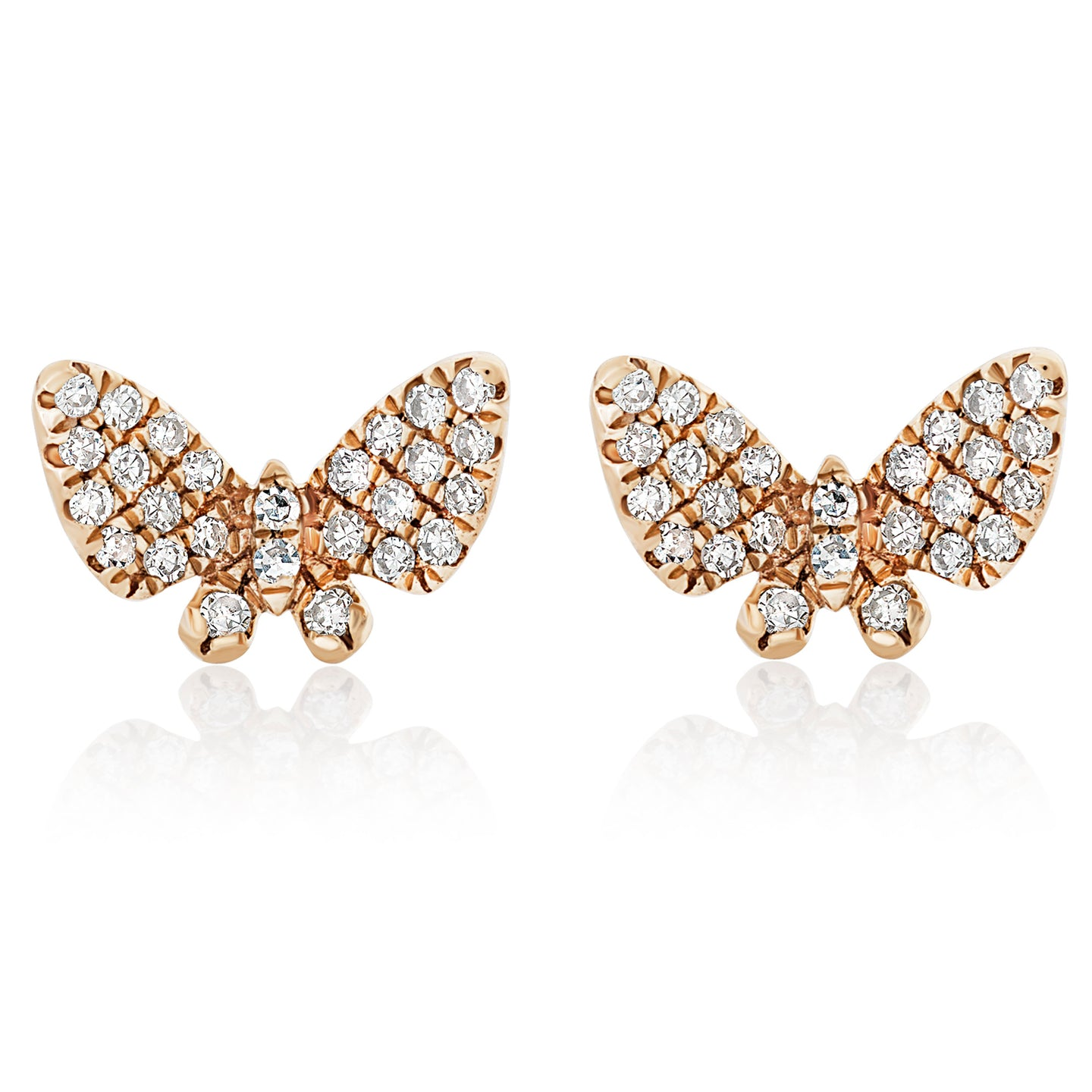 Micro Mini Diamond Butterfly Stud Earrings